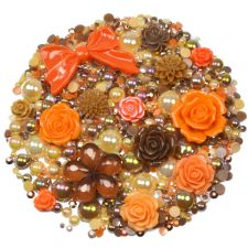 'CHOCOLATE ORANGE' Theme Rhinestone and Cabochon Mix